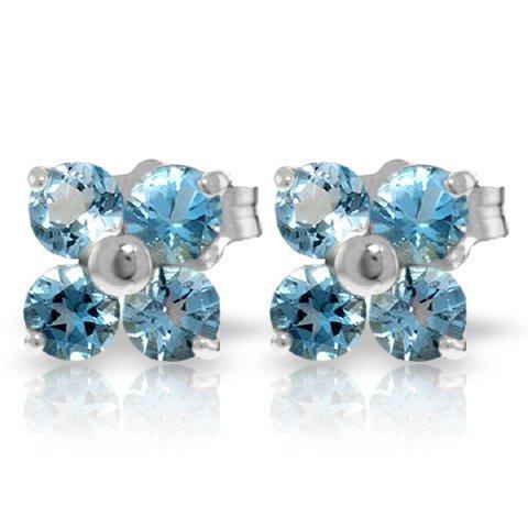 14k WG 1.15ct ROUND Blue Topaz Flower Stud Earrings
