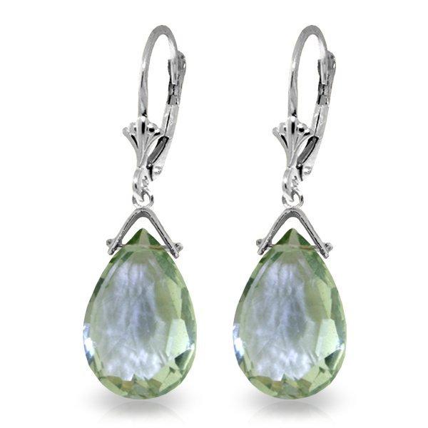 14k WG 10.20ct Green Amethyst Drop Dangle Earrings