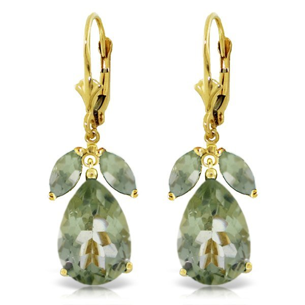 14k Solid Gold Green Amethyst Earrings