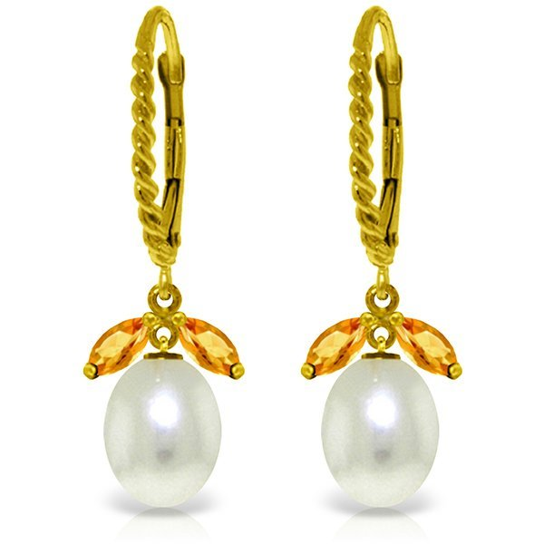 14K YELLOW GOLD 1.00ct CITRINES & PEARL EARRINGS