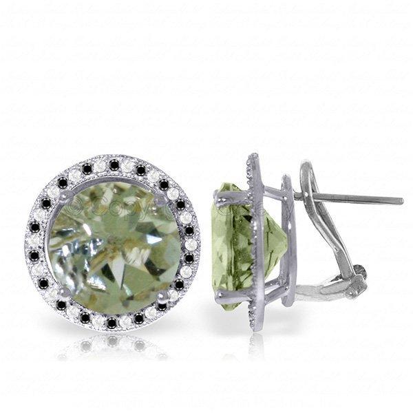 14k WG 10.0ct Green Amethyst & Diamond Earrings