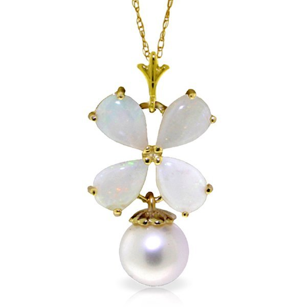 14k Yellow Gold Opal & Pearl Flower Necklace