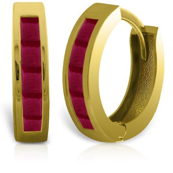 14k Solid Gold 1.30ct Ruby Earrings