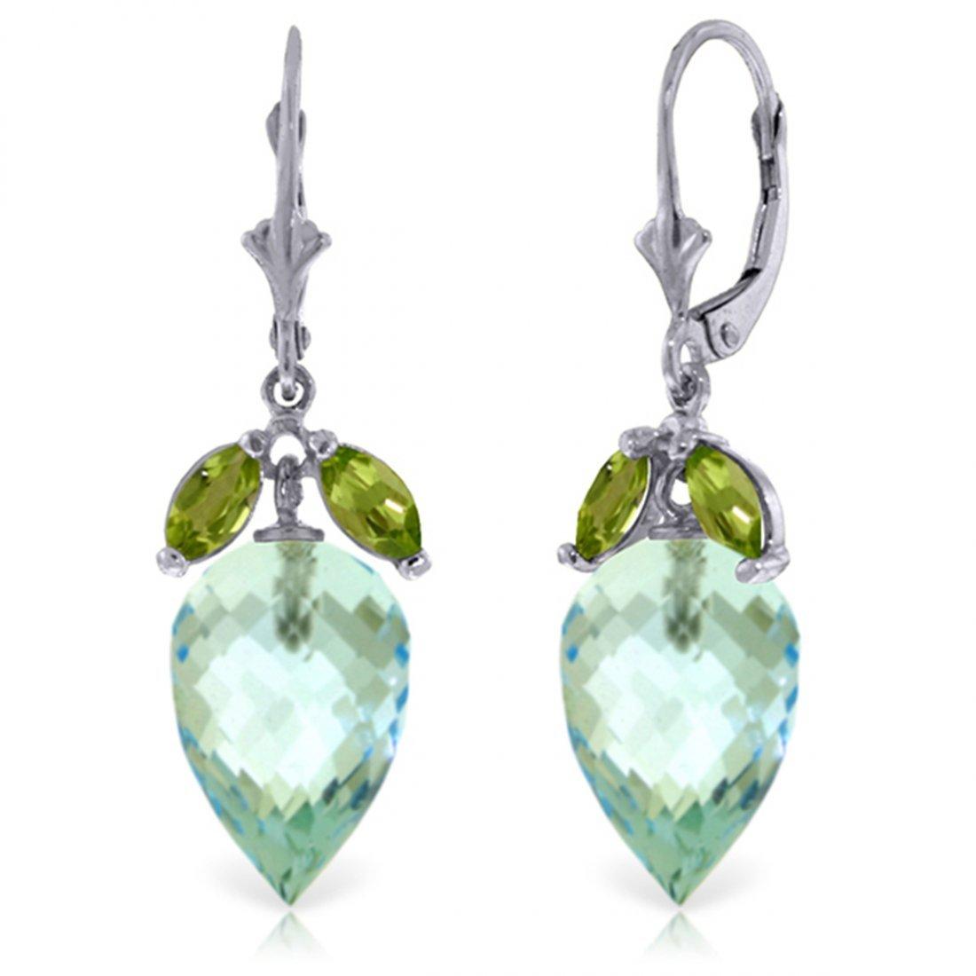 14k White Gold 22.50ct Blue Topaz & Peridot Earrings