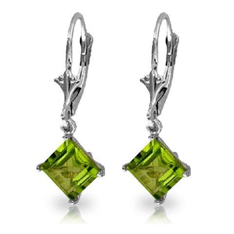 14k White Gold 3.20ct Peridot Dangle Earrings