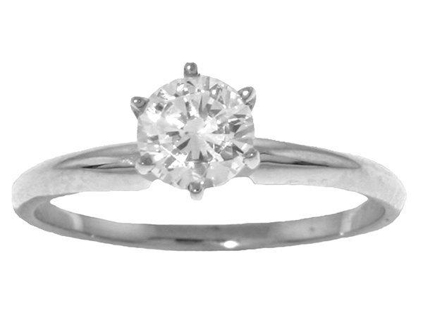 0.50CT J-K SI2 Diamond Solitaire Ring in 14k WHITE GOLD