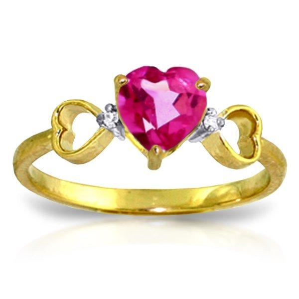 14k YG 0.95ct Pink Topaz & Diamond Heart Ring
