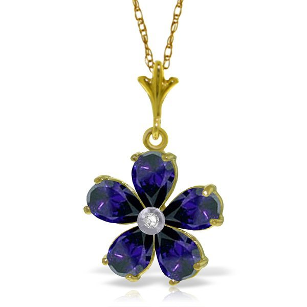 14k Solid Gold 2.20ct Sapphire & Diamond Necklace