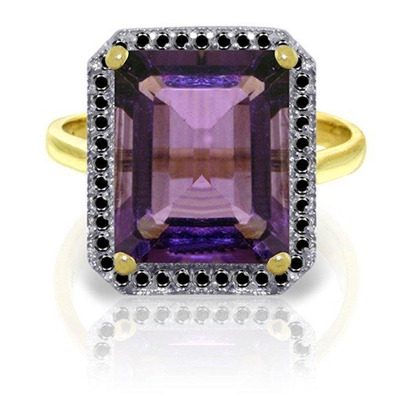 14k YG 5.60ct Amethyst with Black Diamonds Ring