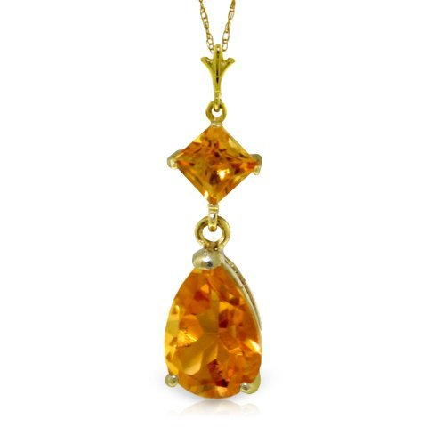 14k YELLOW GOLD 1.50ct & 0.50ct Citrine Drop Necklace