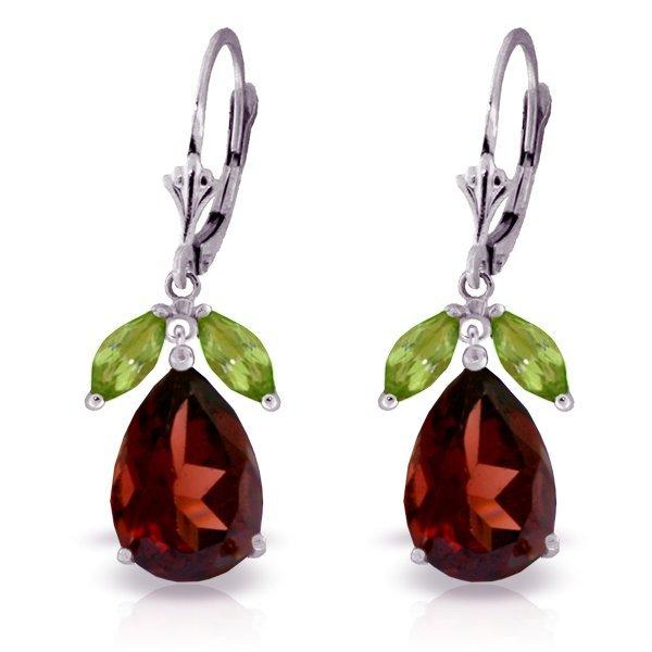 12.00ct Garnet and 1.0ct Peridot Drop Earrings in 14k