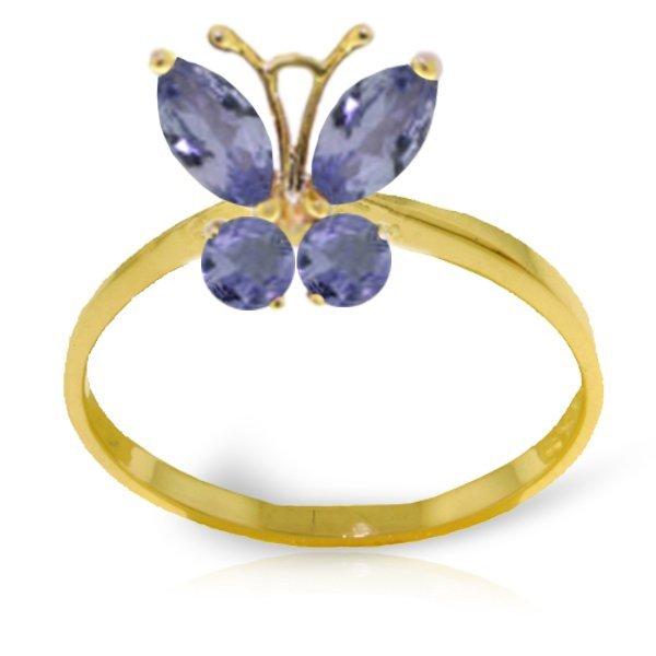 14k YG .40ct & .20ct Tanzanite Butterfly Ring