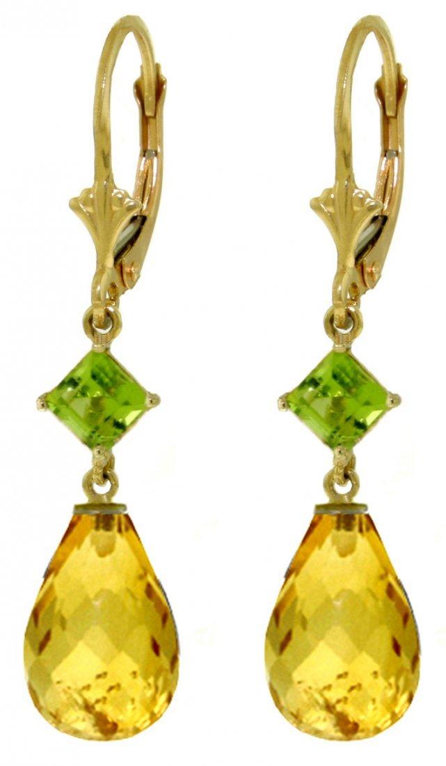 Peridot and Citrine Dangle Earrings in 14k Yellow Gold