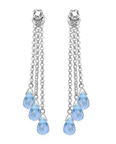14k WG 10.50ct Blue Topaz & Diamond Chandelier Earrings