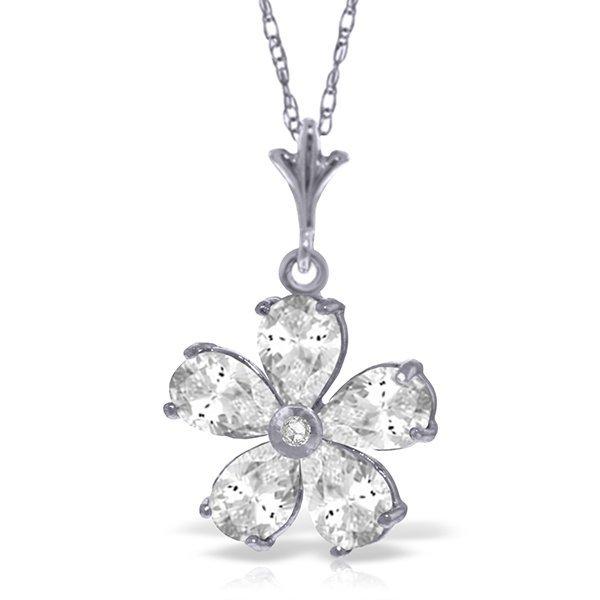 14k Solid Gold White Topaz & Diamond Necklace