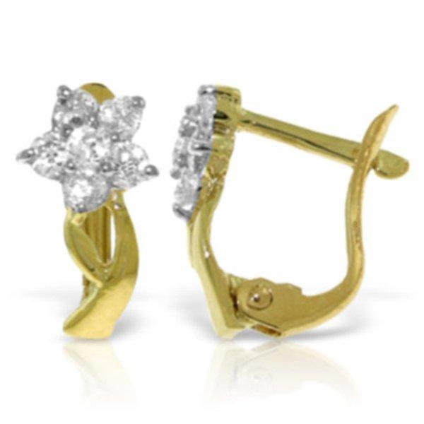 14k Solid Gold 0.40ct Diamond Flower Earrings