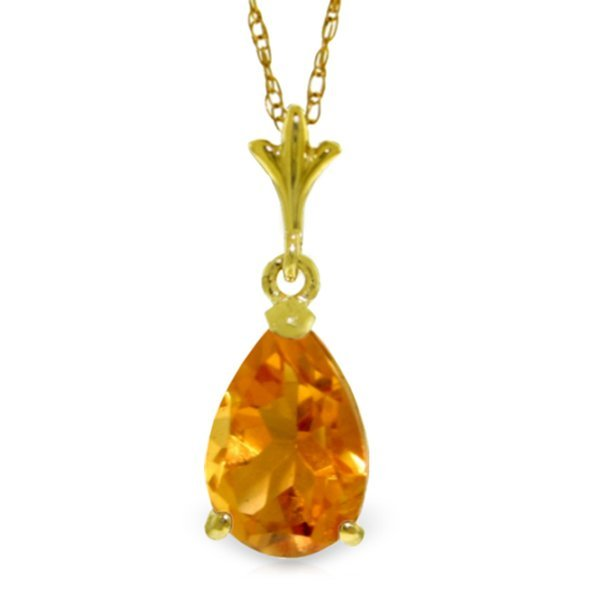14k Yellow Gold 1.50ct Citrine Drop Necklace