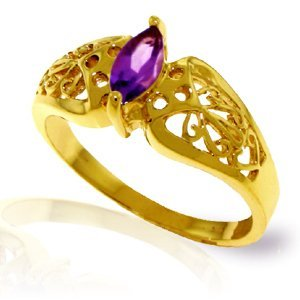 14k Yellow Gold 0.20ct Amethyst Filigree Ring