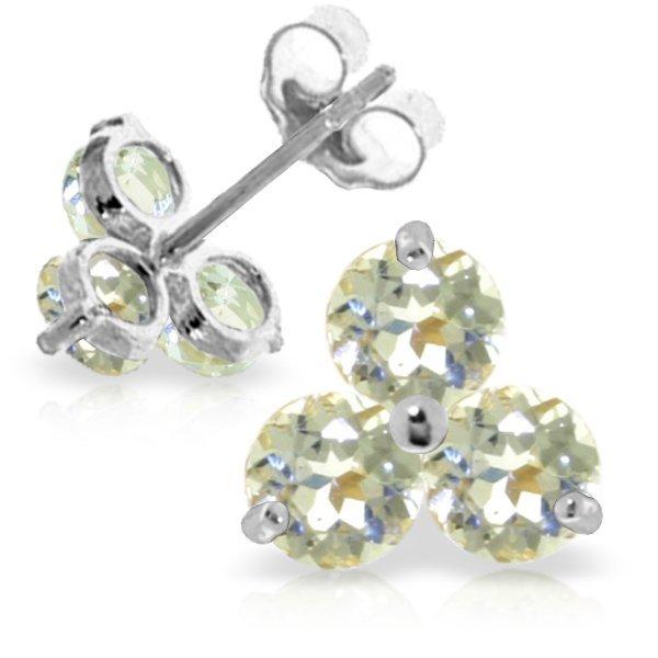 14k White Gold 1.50ct Aquamarine Stud Earrings