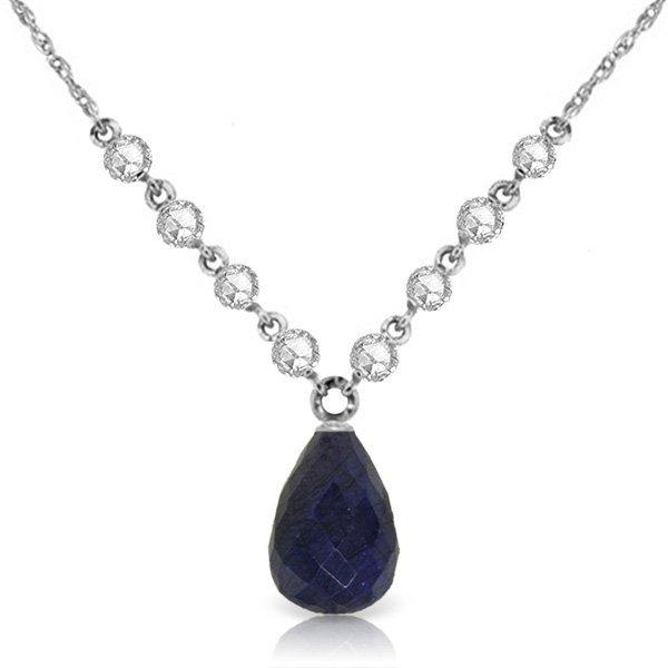 14k WG 14.80ct Sapphire & Diamond Necklace