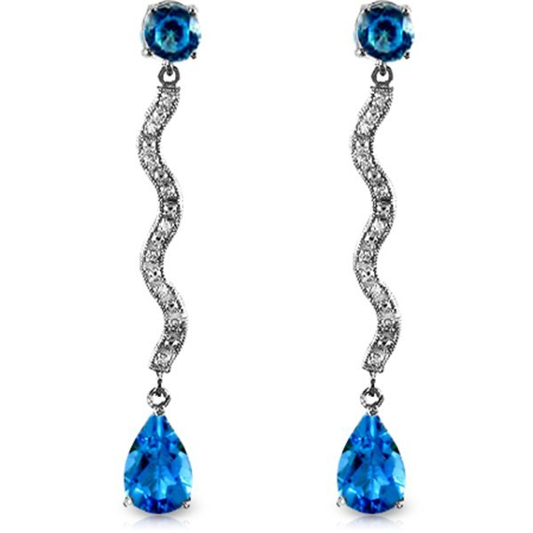 14k WG Blue Topaz & Diamond Drop Earrings