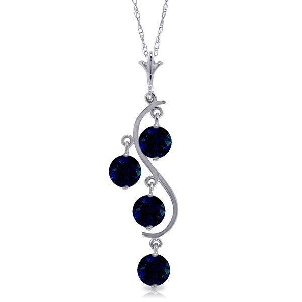 14k White Gold 2.0ct Sapphire Necklace