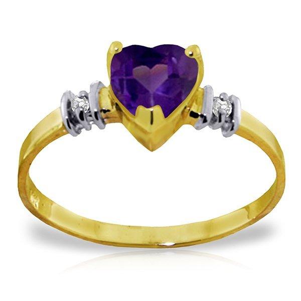 14K Y. GOLD 0.95ct AMETHYST & 0.03ct DIAMONDS RING