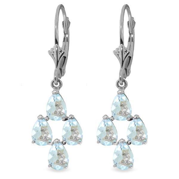 14k White Gold 3.90ct Aquamarine Earrings