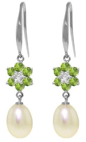 14k Pearl, Peridot with Diamond Fish Hook Earrings