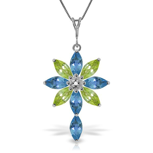 14k Solid Gold Blue Topaz, Peridot & Diamond Necklace