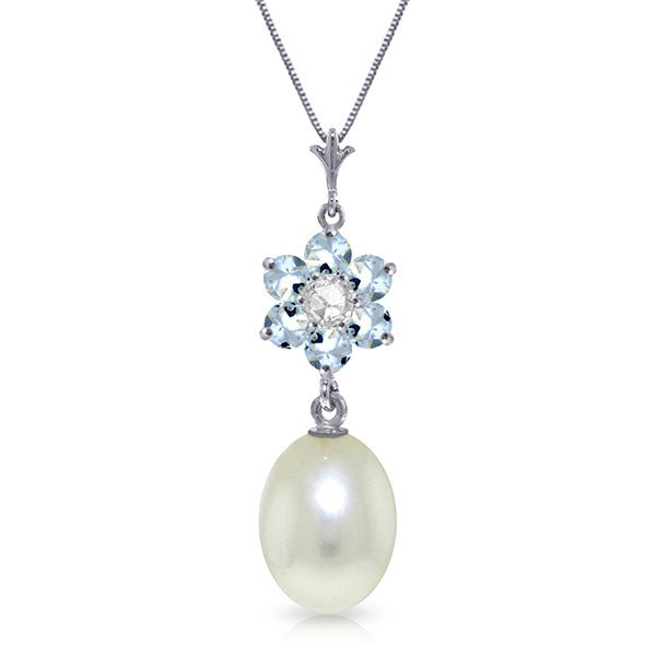 14K WG 4.0ct PEARL, AQUAMARINE&DIAMOND NECKLACE