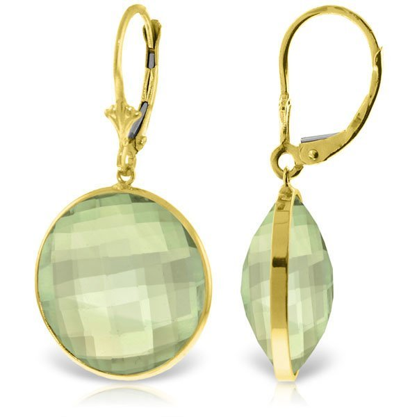 14K Solid  Gold 36.0ct  ROUND Green Amethysts EARRING