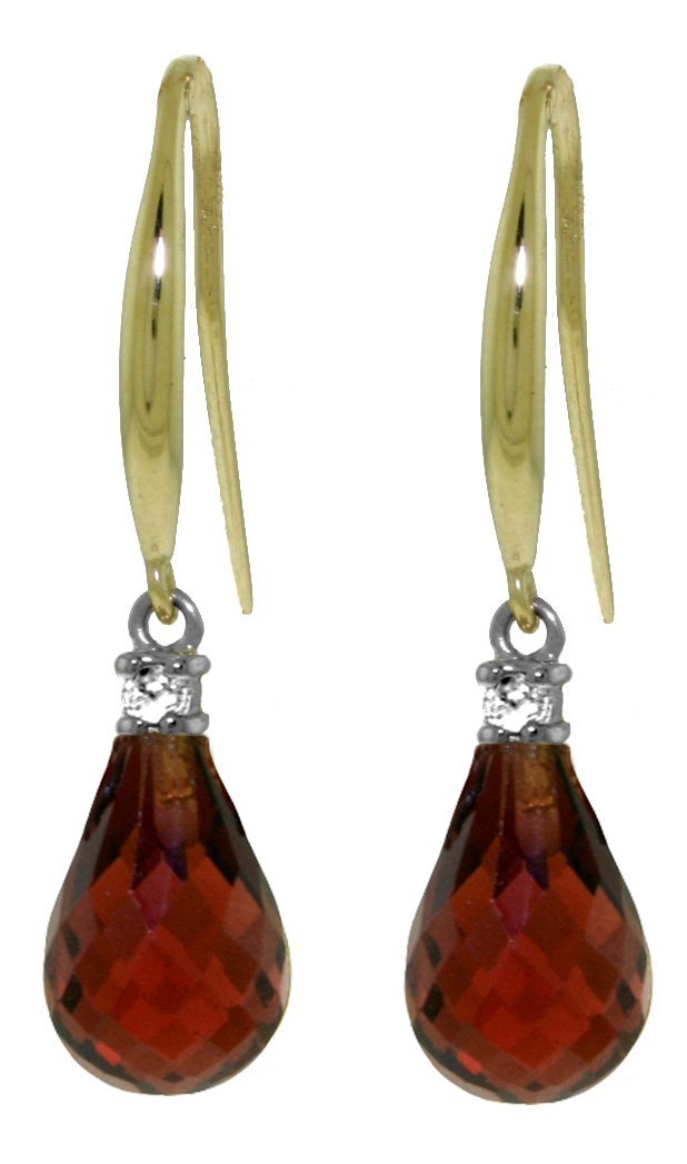 14k Yellow Gold 4.50ct Garnet & Diamond Earrings