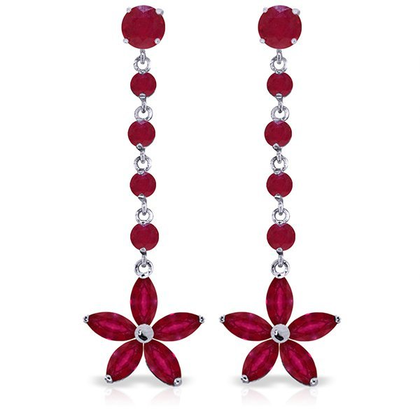 14k Solid Gold Ruby Flower Dangle Earrings