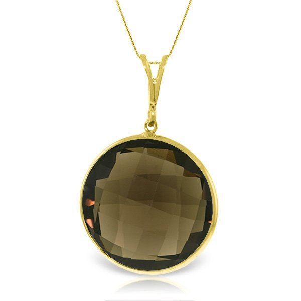 14K Solid  Gold Necklace with 17.00ct Smoky Quartz