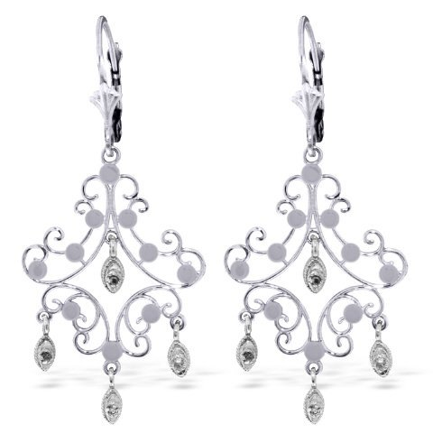 14K WG .04ct SI2 ROUND DIAMOND CHANDELIER EARRING
