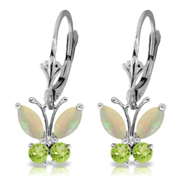 14k WG 1.00ct Opal and .39ct Peridot Butterfly Earrings