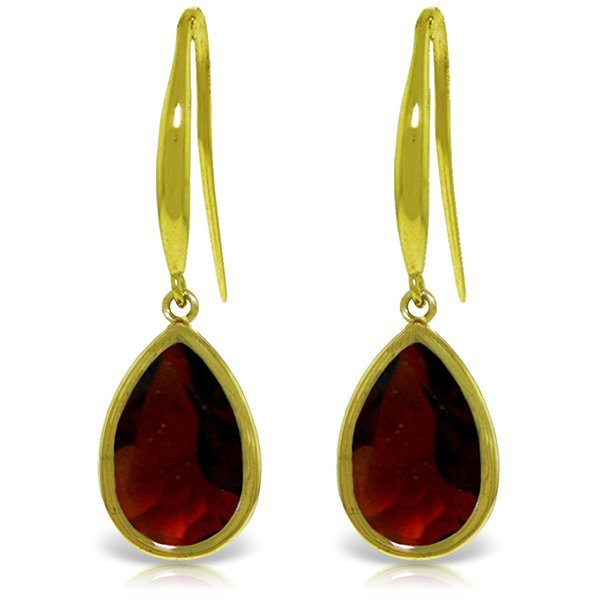 14k Gold Garnet Teardrop Fish Hook Earrings