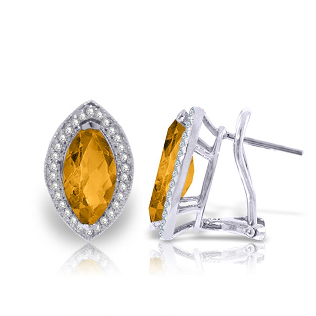 3.6ct 14k White Gold Hayworth Citrine Diamond Earrings