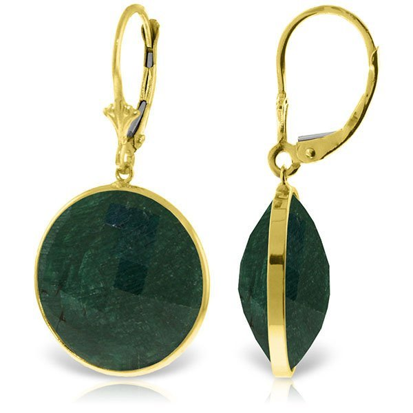 14K Solid  Gold 46.0ct  ROUND Emerald EARRING