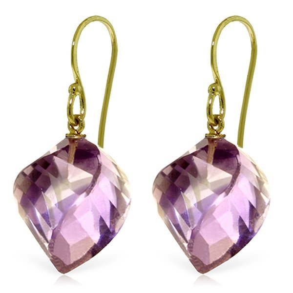 14k Yellow Gold 21.50ct Amethyst Fish Hook Earrings