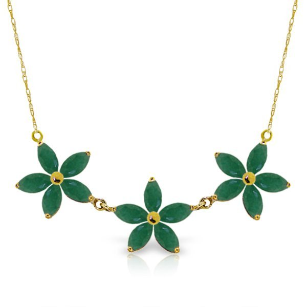 14K YG 4.20ct MARQUIS EMERALD FLOWER NECKLACE