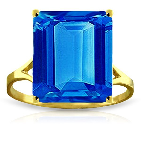 14k Yellow Gold 7.0ct Blue Topaz Cocktail Ring