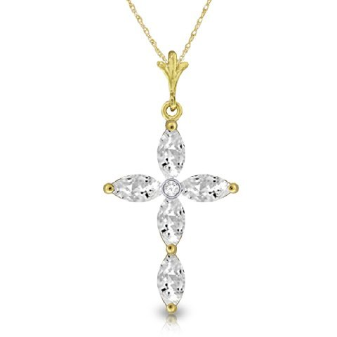14k Solid Gold 1.08ct White Topaz & Diamond Necklace