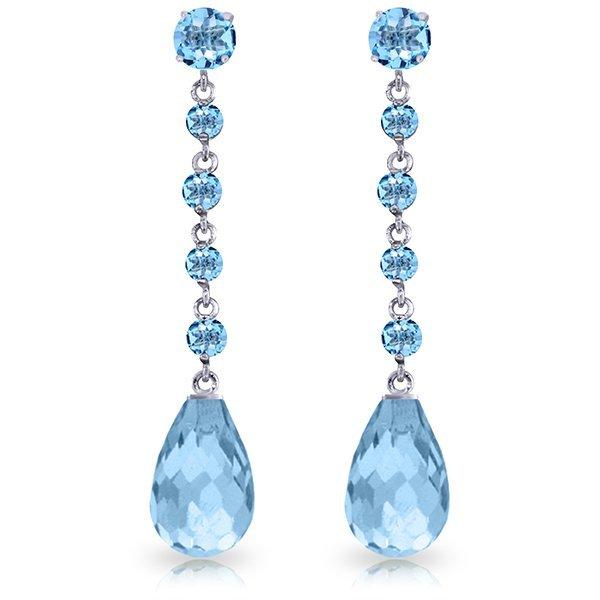 14k WG 21.00ct BRIOLETTE  Blue Topaz Chandelier Earring