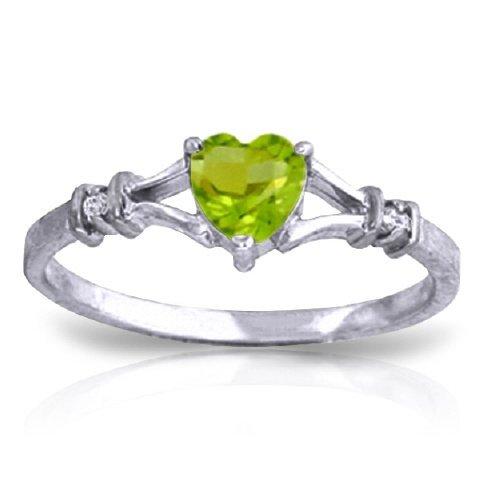 14k Solid Gold 0.45ct Peridot & Diamond Ring