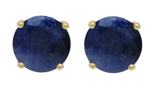 3.30ct Sapphire Stud Earrings in 14k Yellow Gold