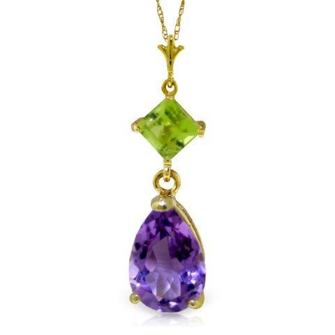 .50ct Peridot & 1.50ct Amethyst Drop Necklace in 14k YG