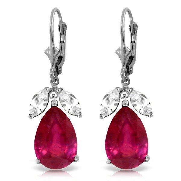 14k WG 10.0ct Ruby & 1.0ct White Topaz Earrings