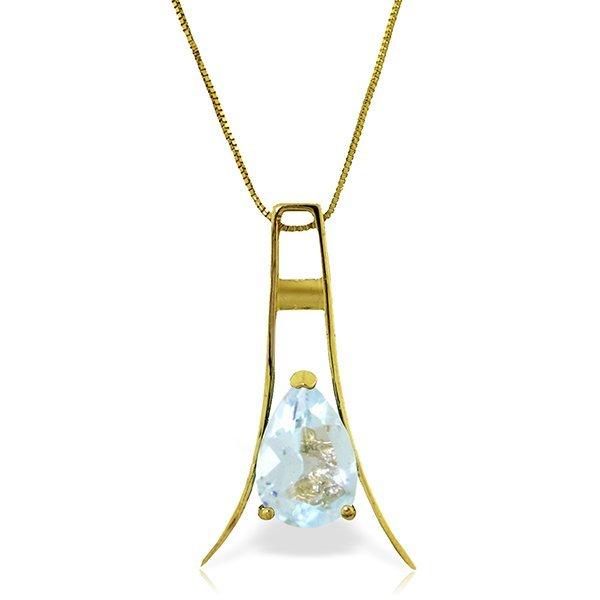 14k Solid Gold 1.50ct Aquamarine Necklace